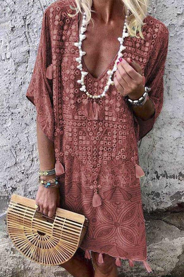 Bohemian Floral Print Tassel Detail Mini Dress - Regocy