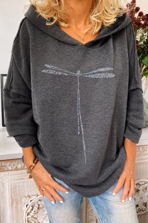 Casual Dragonfly Print Long Sleeves Hoodie