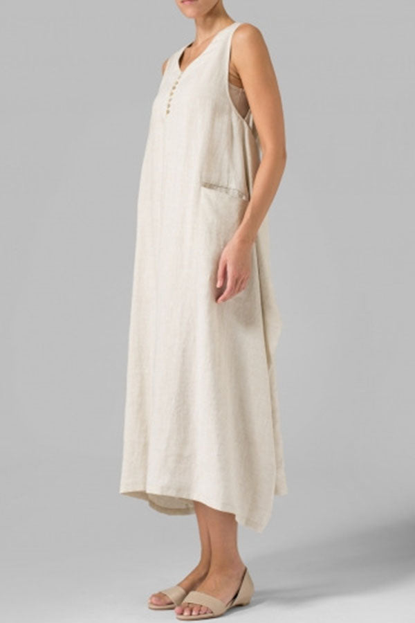 Sleeveless Buttoned Irregular Solid Maxi Dress