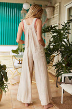 Paneled Solid Side Pockets Sling Overall Jumpsuit