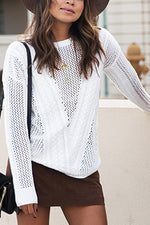 Round Neck Hollow Knit Sweater