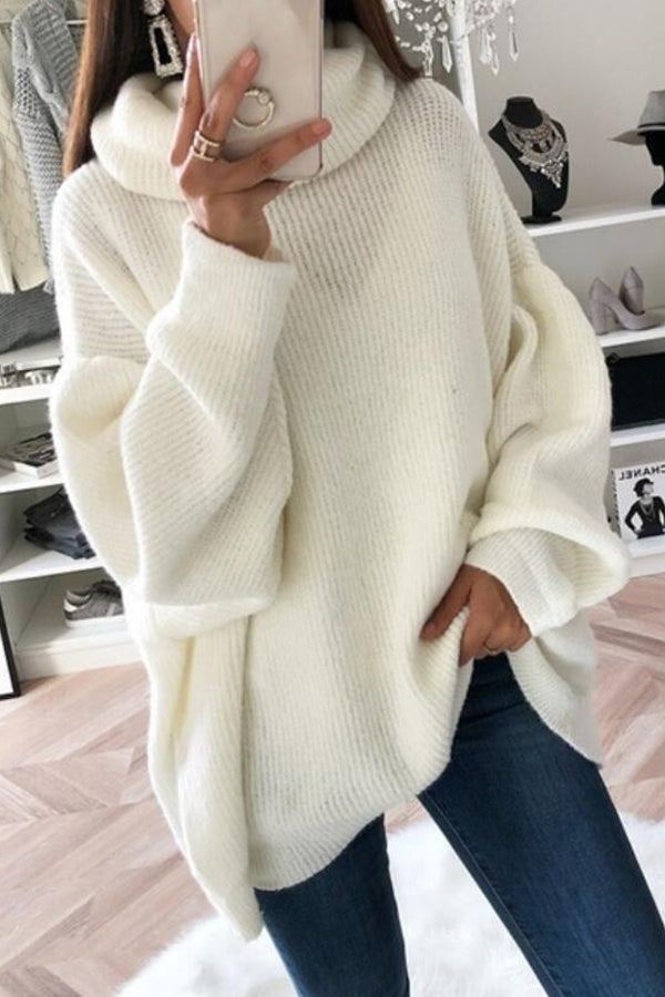 Casual Oversize Roll Neck Knitted Sweater