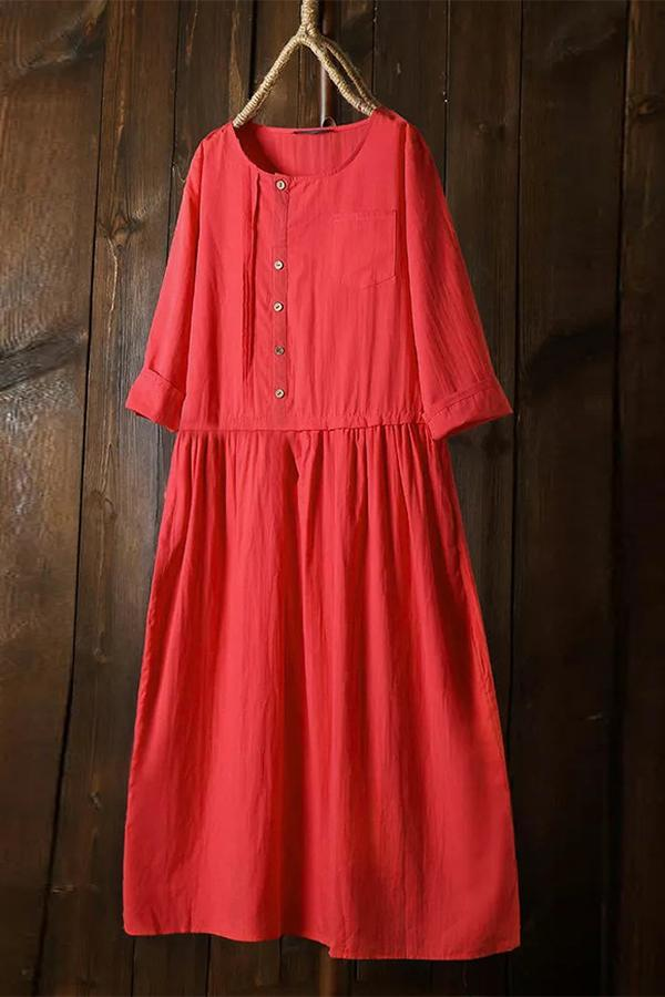 Round Neck Half Sleeves Button Midi Linen Dress - Regocy