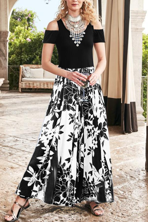 Floral Print Crew Neck Cold Shoulder Maxi Dress