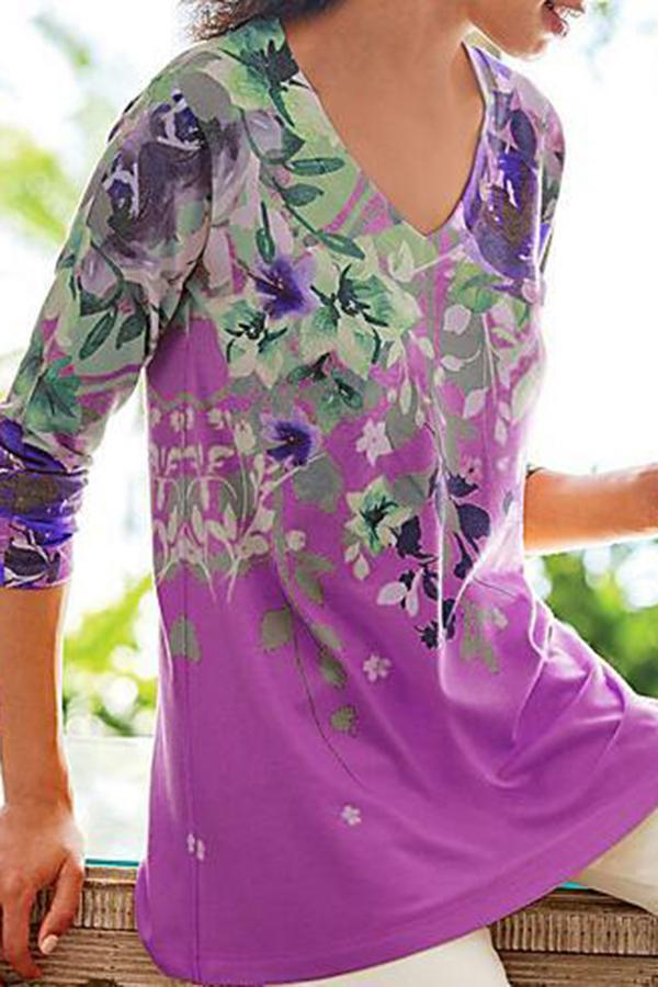 Floral Print V-neck Casual Long Sleeves T-shirt