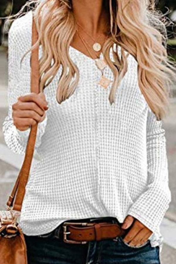 Solid V Neck Long Sleeves Knit Sweater