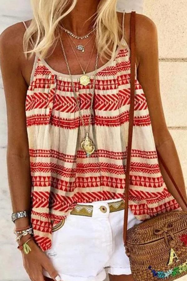 Sleeveless Spaghetti Print Loose Shift T-shirts