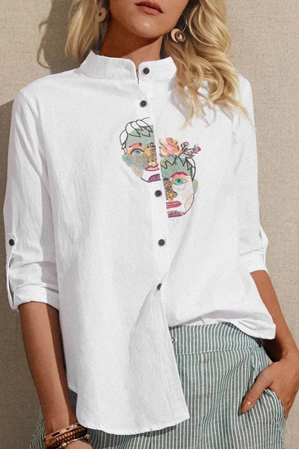 Staggered Character Portrait Embroidery Buttoned Vintage Blouse