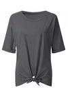 Casual Solid Round Neck Tie T Shirt