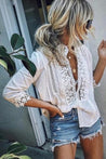 Women Lapel Collar Lace Blouse - Regocy