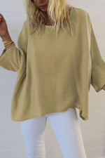 Casual Plain Crew Neck Linen Blouse