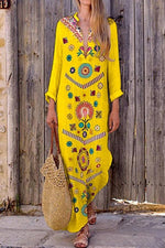 Vintage Print V-neck Linen Bohemian Dress - Regocy