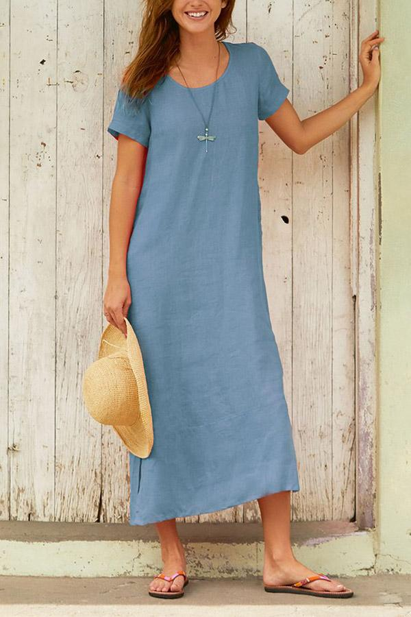 Casual Solid Short Sleeves Maxi Dress