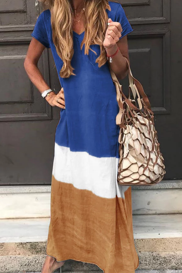Print Short Sleeves V-neck Casual Maxi Dress - Regocy