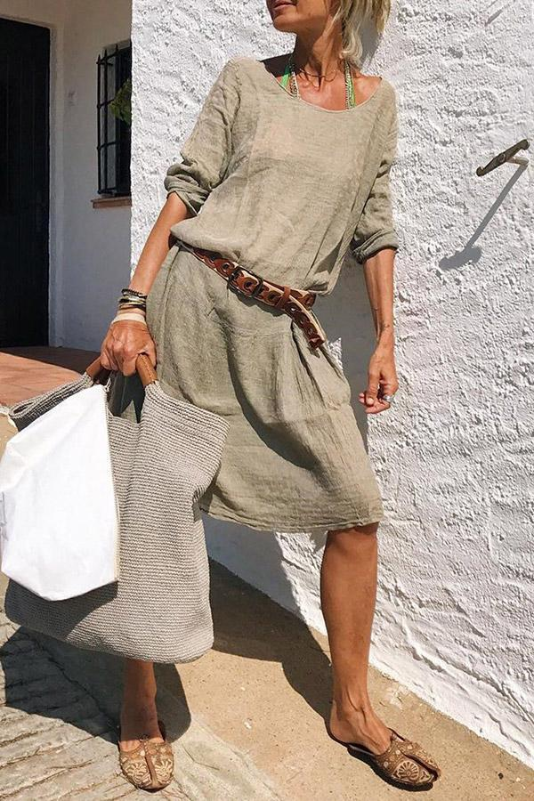 Casual Solid Crew Neck Linen Midi Dress - Regocy