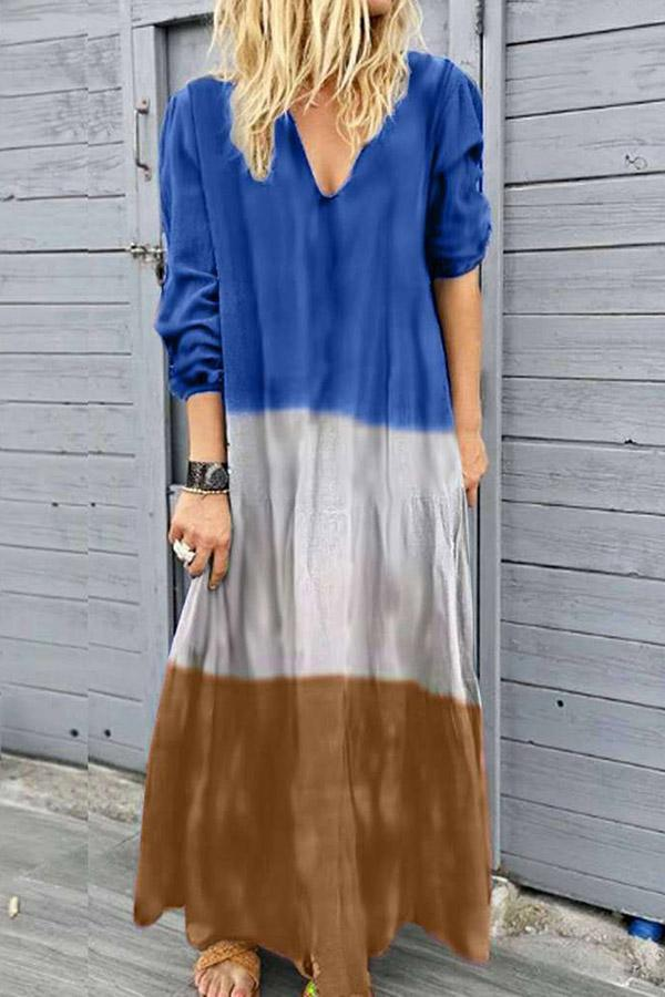 Gradient Solid Color-block Maxi Dress - Regocy