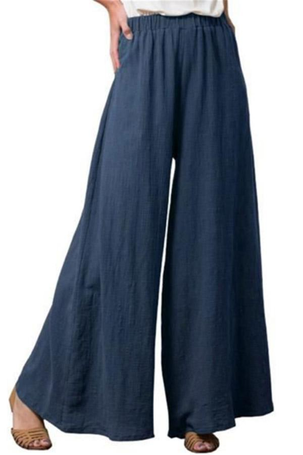 Casual Solid Wide Leg Pants
