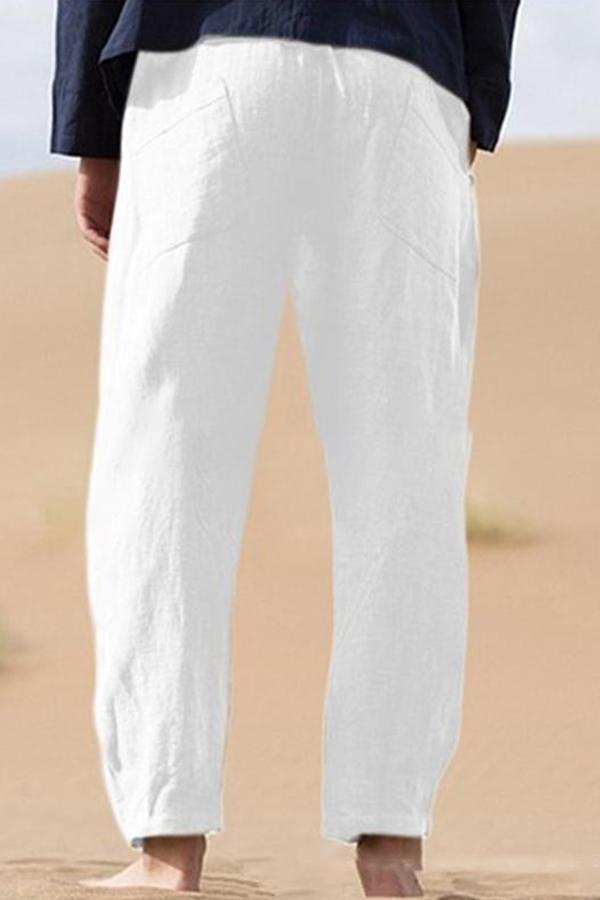 Pure Color Plain Linen Pants - Regocy