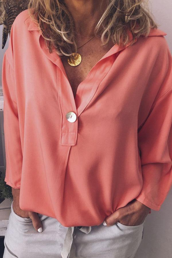Solid V-neck Long Sleeves Casual Blouse - Regocy