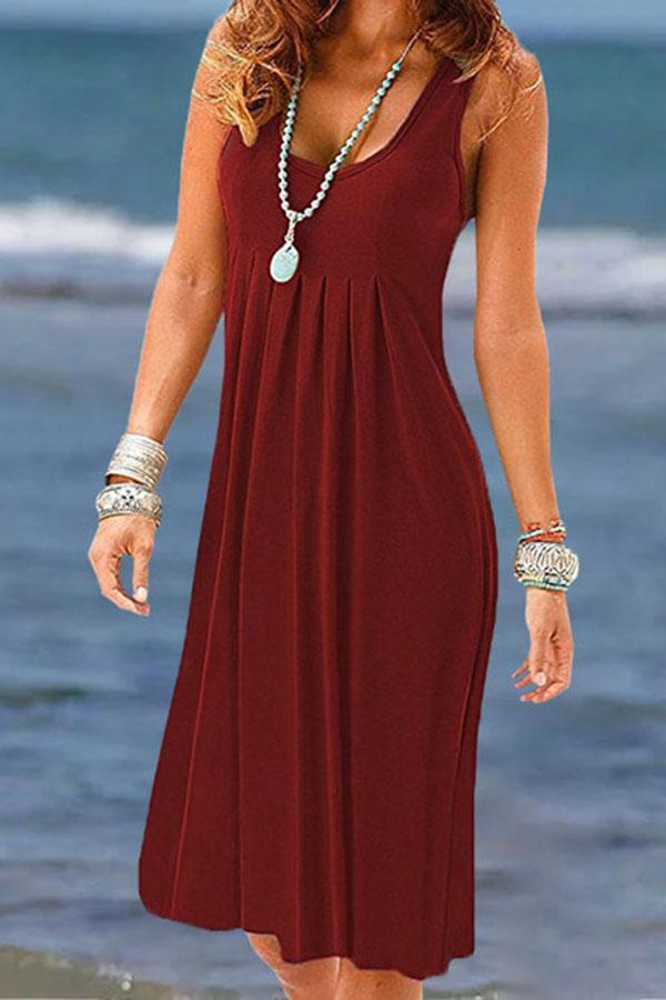 Solid Sleeveless Crew Neck Pleated Casual Midi Dress
