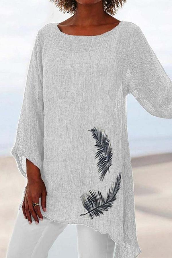Vintage 3/4 Sleeve Feather Print Irregular Linen Blouse - Regocy