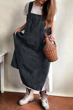 Casual Square Neck Pockets Cotton Pinafore Dress