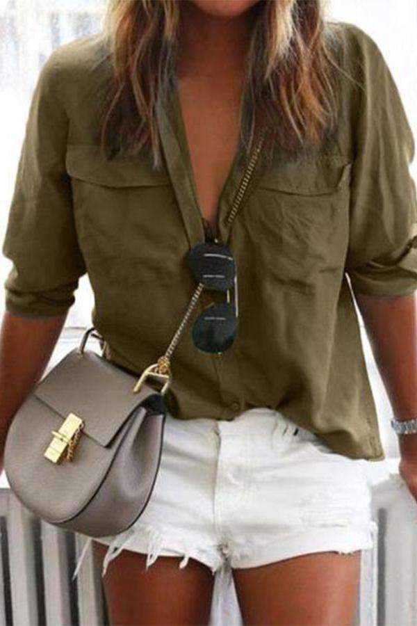 Plain Pockets Front Casual Blouse - Regocy