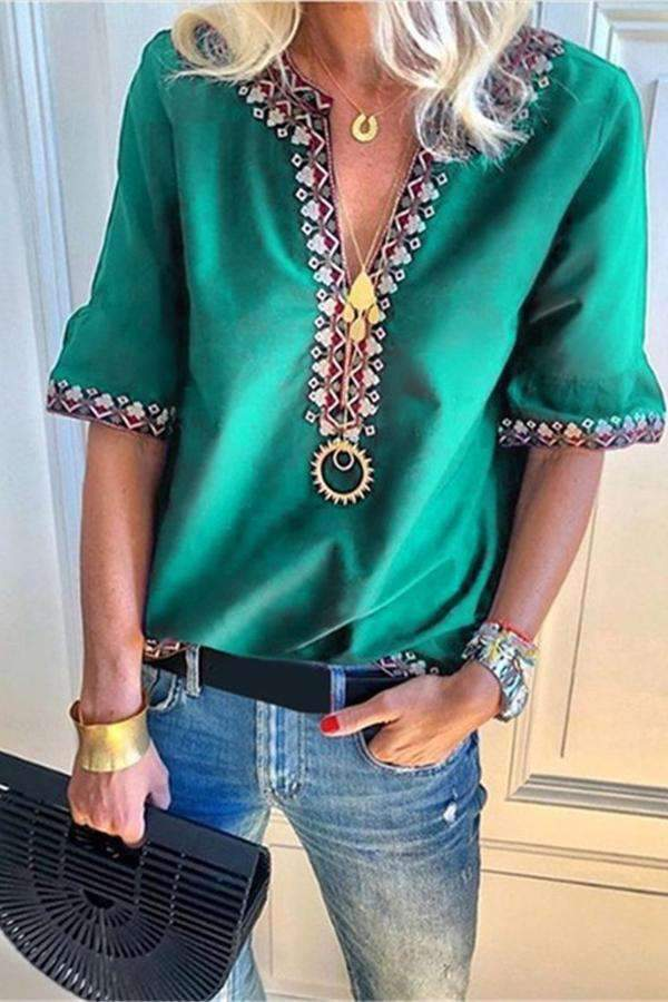 Women Casual Tops V Neck Short Sleeve Blouses - Regocy