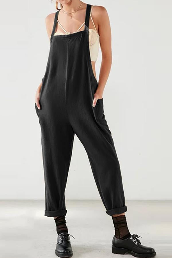 Spaghetti Solid Side Pockets Casual Jumpsuits