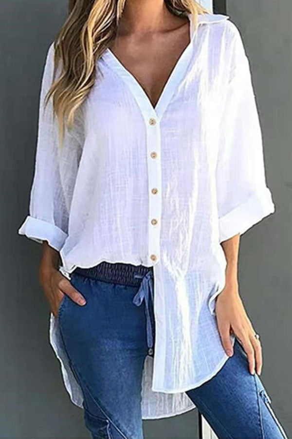 Solid V Neck Button Long Sleeves Shirt