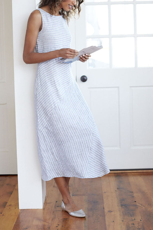 Side Pockets Crew Neck Stripe Dress