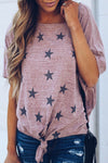 Star Print Loose Short Sleeves Tie Up T-shirts