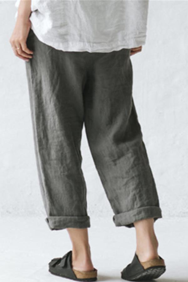 Casual Linen Button Side Pockets Pants - Regocy