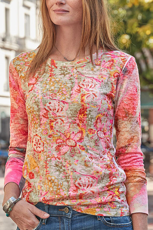 Gradient Floral Print Vacation Paneled Long Sleeves T-shirt