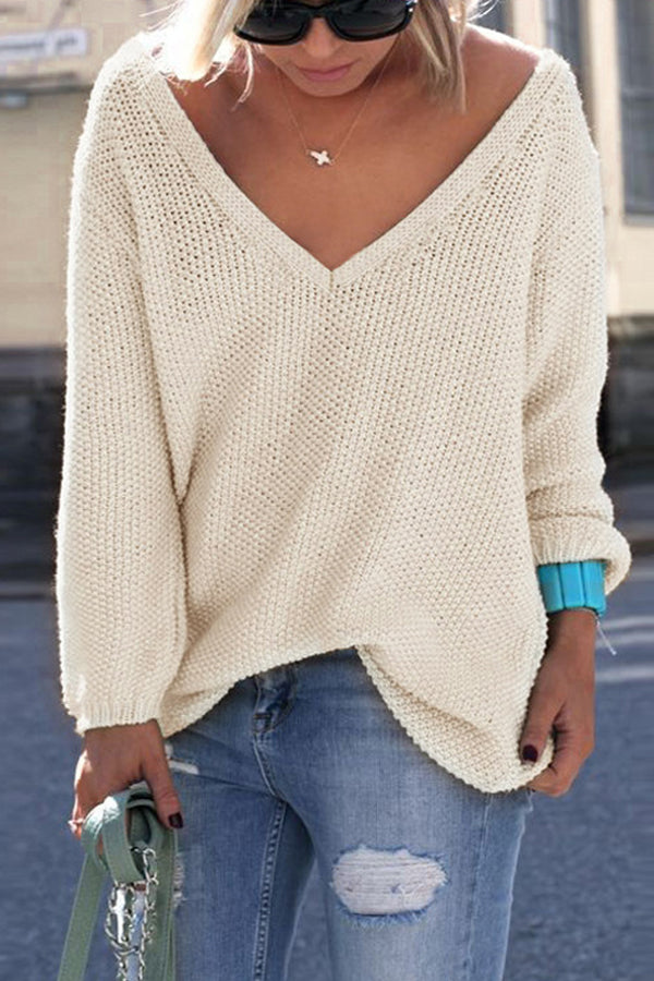Casual Oversize Knitted V-neck Sweater