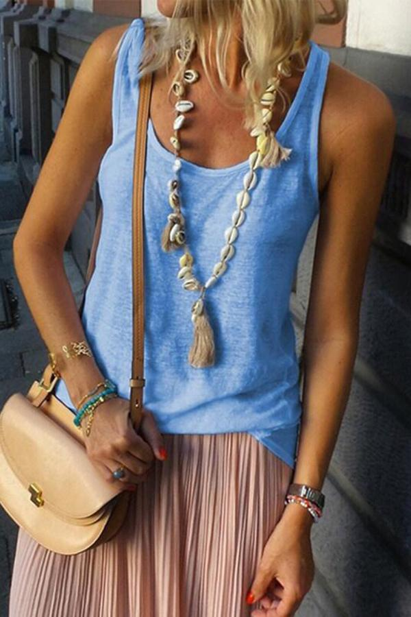 Casual Solid Sleeveless Crew Neck Tank Tops