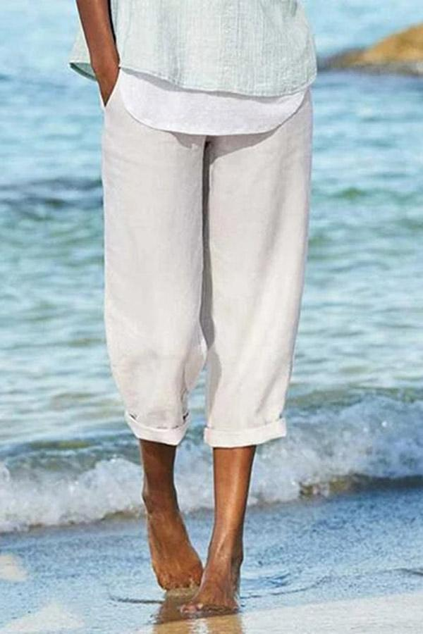 Solid Side Pockets Casual Linen Pants - Regocy