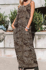 Leopard Print Sleeveless Pocket Holiday Maxi Dress
