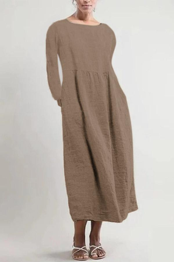 Side Pockets Long Sleeves Midi Linen Dress - Regocy