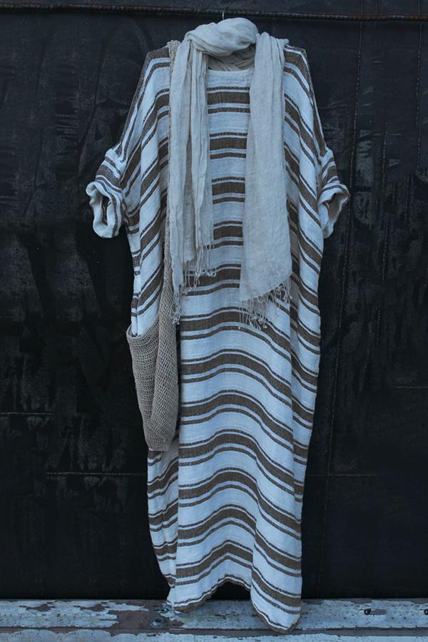 Striped Casual Crew Neck Linen Midi Dress - Regocy