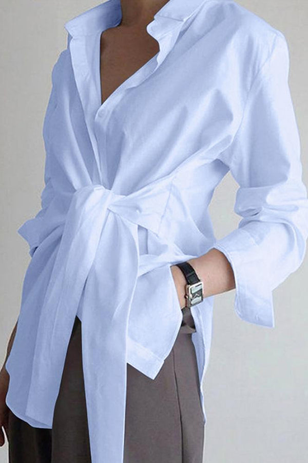 Casual Solid Paneled Buttons Down Knot Front Shirt Collar Blouse