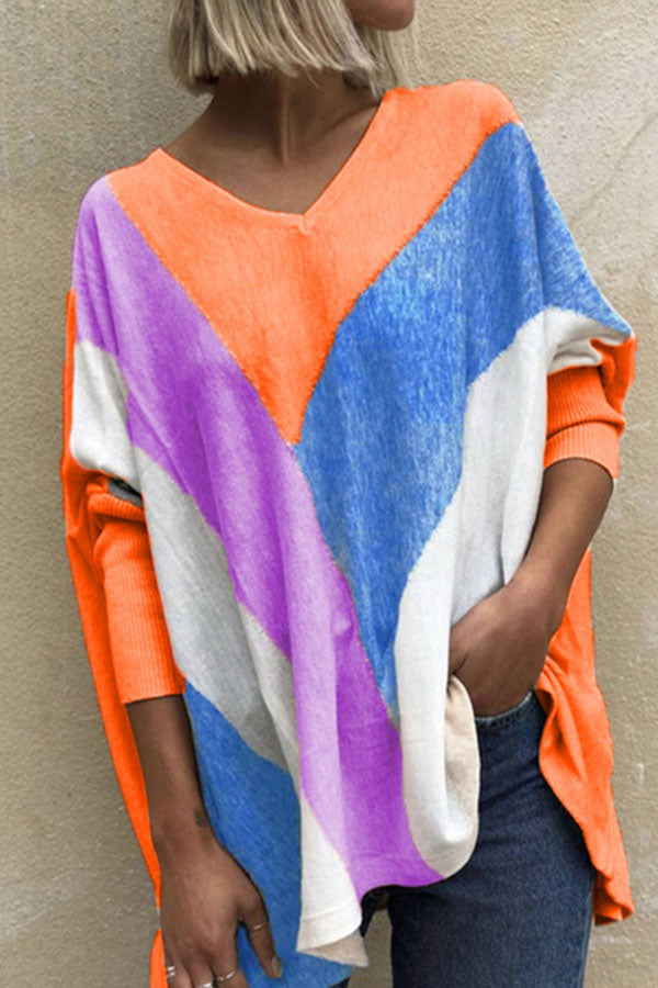 V Line Striped Jacquard V-neck Color-block Batwing Holiday Blouse