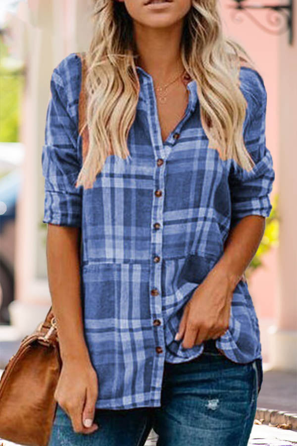 Casual Plaid Print Paneled Buttons Down V-neck Blouse