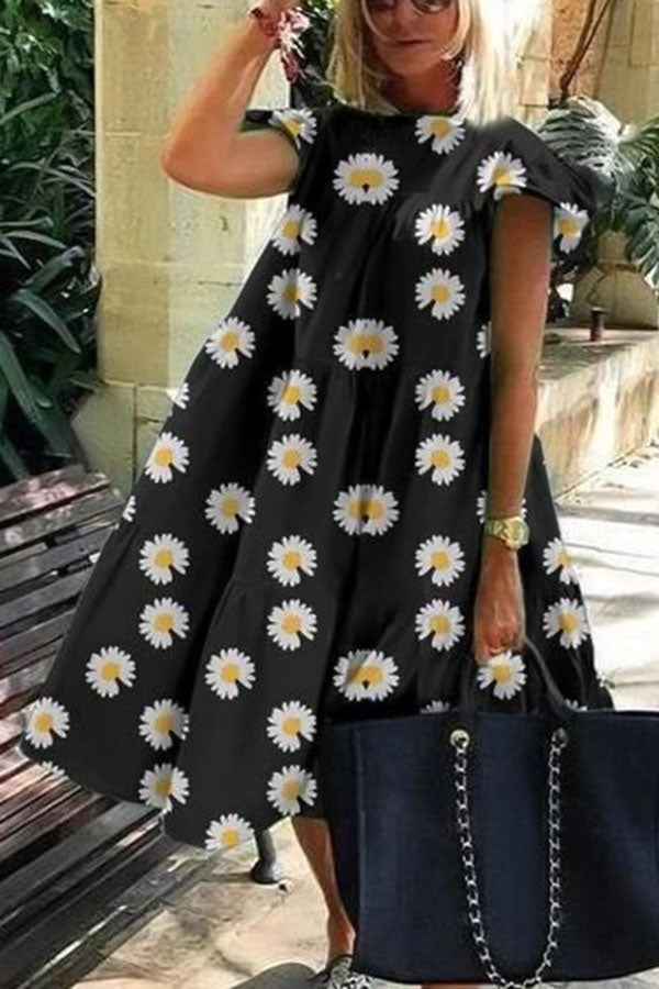 Holiday Print Bell Sleeves Paneled Pleated Midi Dress