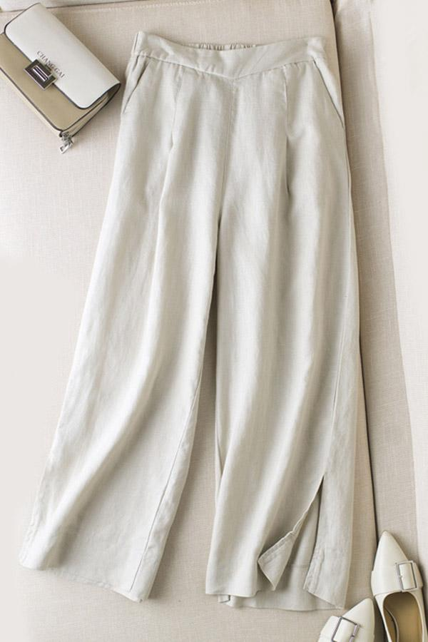 Linen Casual Solid Slit Pants - Regocy