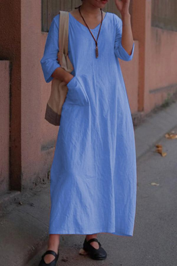 Casual Linen V-neck Solid Pocket Maxi Dress - Regocy
