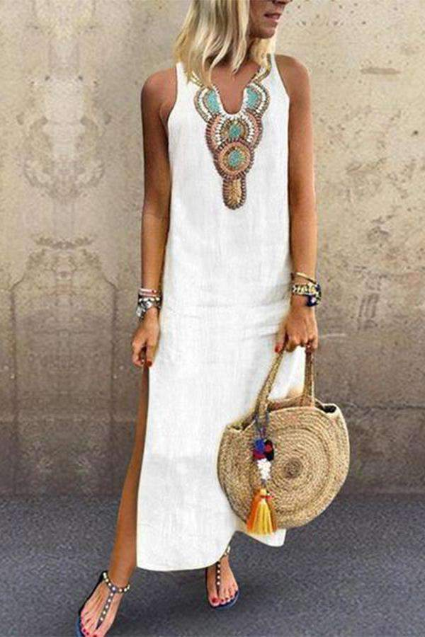 Sexy Side Split V Neck Printed Sleeveless Casual Dresses - Regocy