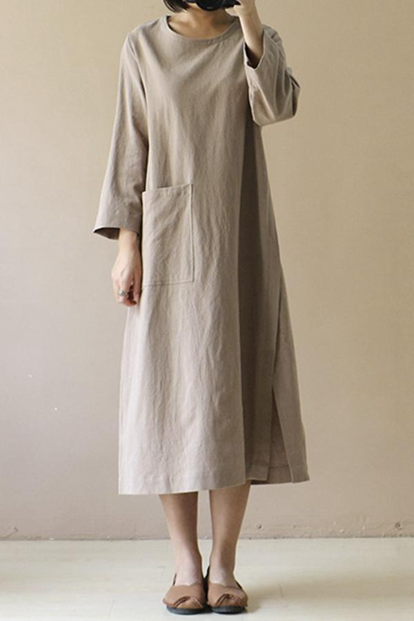 Vintage Solid Long Sleeve Linen Midi Dress - Regocy