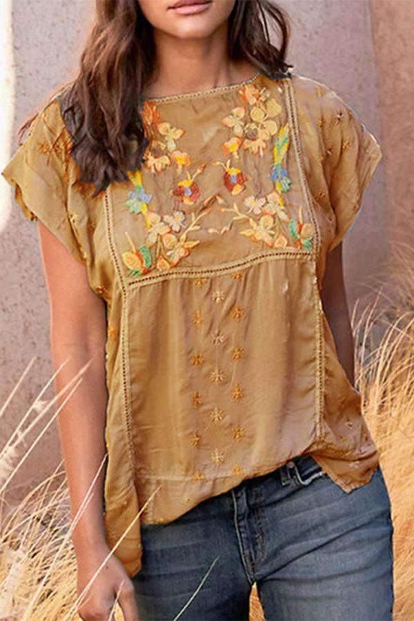 Casual Floral Embroidery Linen Top - Regocy