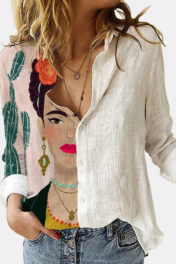 Hand Painting Frida Kahlo Cactus Floral Print Color-block Blouse